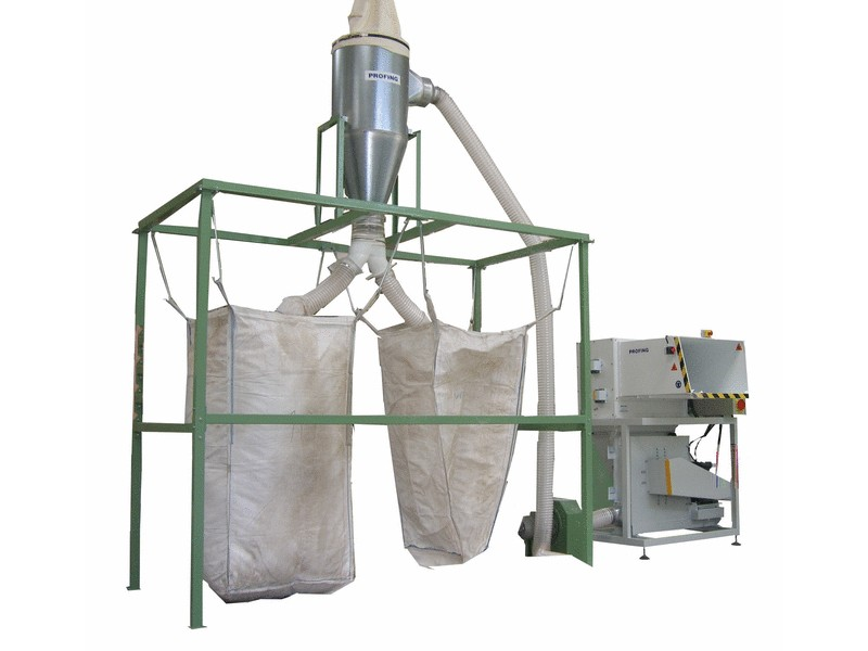 Polystyrene shredder with extracting device and a double BIG-BAG stand